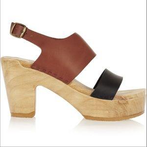No. 6 Harper two-tone clog sandals